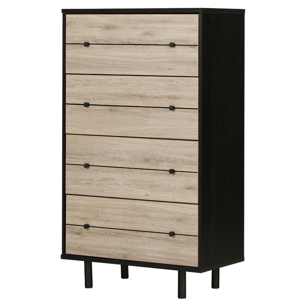 Morice Mid Century Vertical Dresser Black And Rustic Oak
