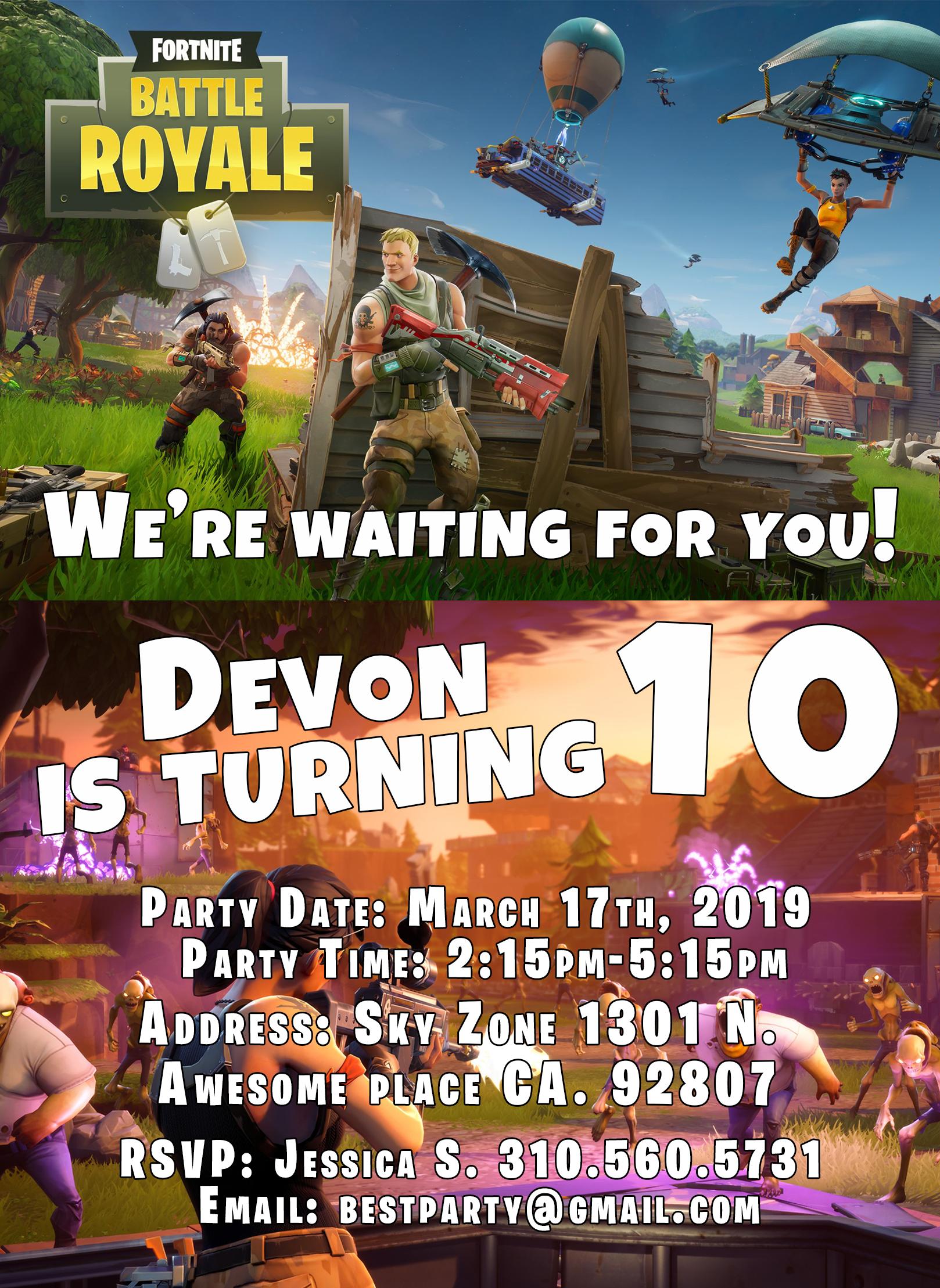 Fortnite Battle Royale Birthday Party Invitation Personalized
