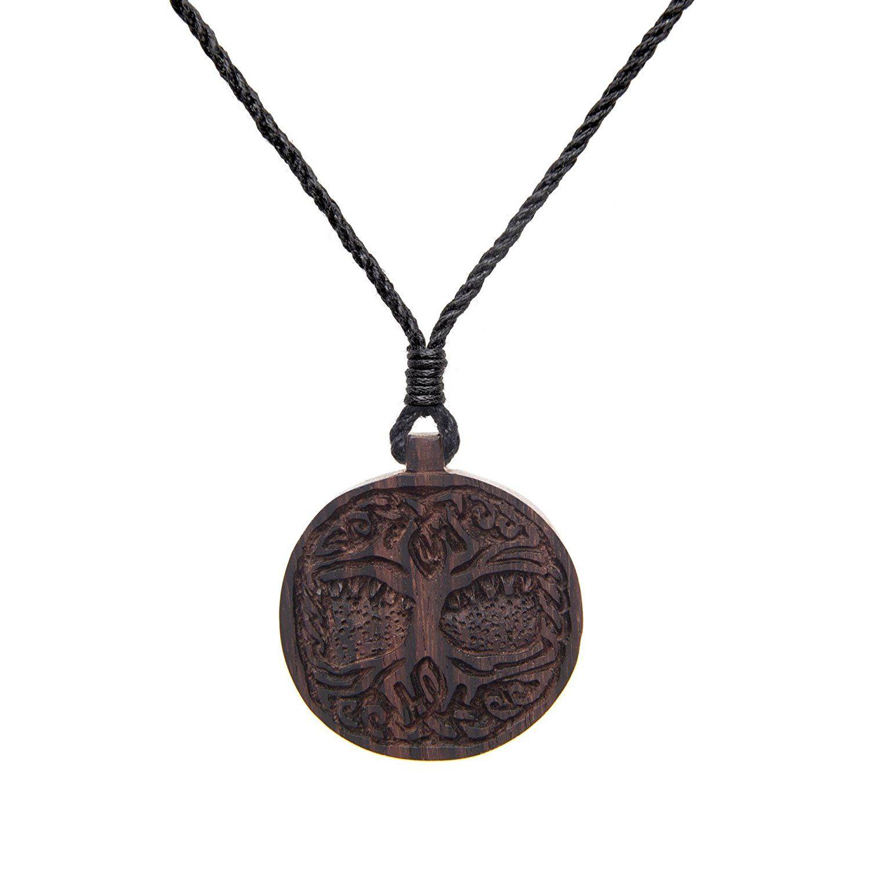 81stgeneration Women's Men's Wood Tree of Life Knowledge Charm Pendant Necklace rdLZtN
