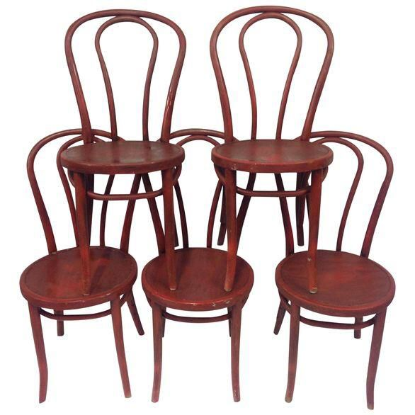 thonet barn red cafe chairs set of 5 - Red Cafe Ideas