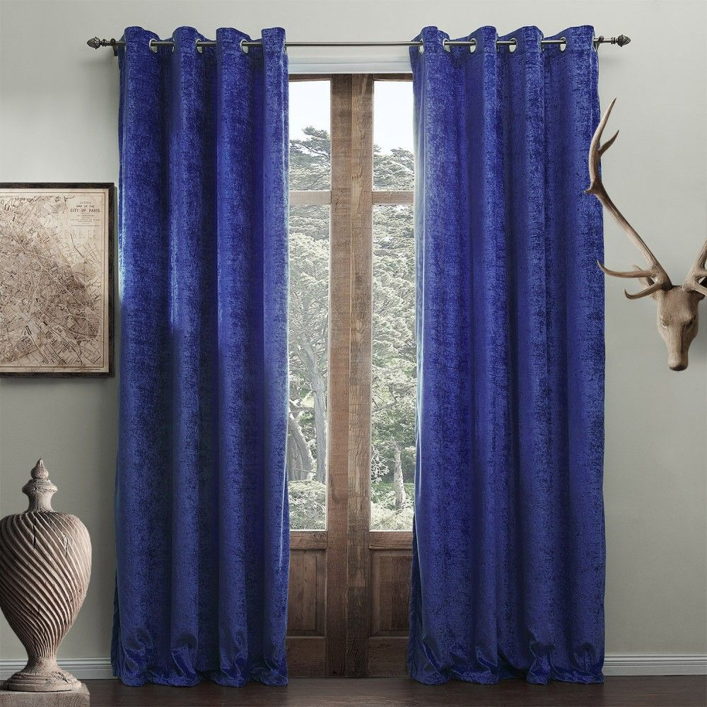 Modern Solid Bright Blue Curtain Milan Curtains Living Room
