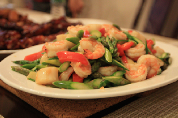 Shrimp and Asparagus Salad With Orange-Miso Vinaigrette