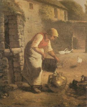 Milking woman, by Jean Francois Millet