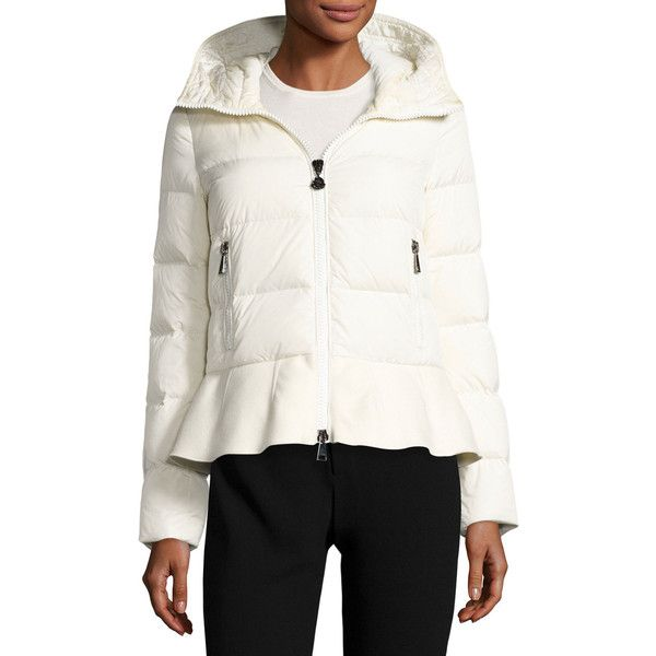 Moncler Nesea Quilted Puffer Coat w/Wool Trim ($1,175) ❤ liked on Polyvore