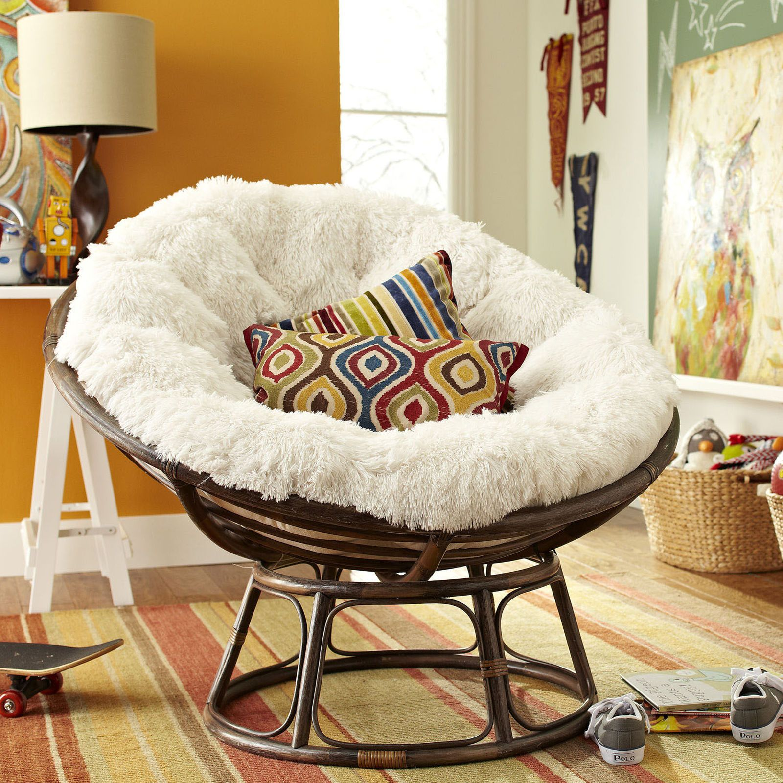 Papasan Sofa Cushion Log Wood Table Shaggy Sand Cushions