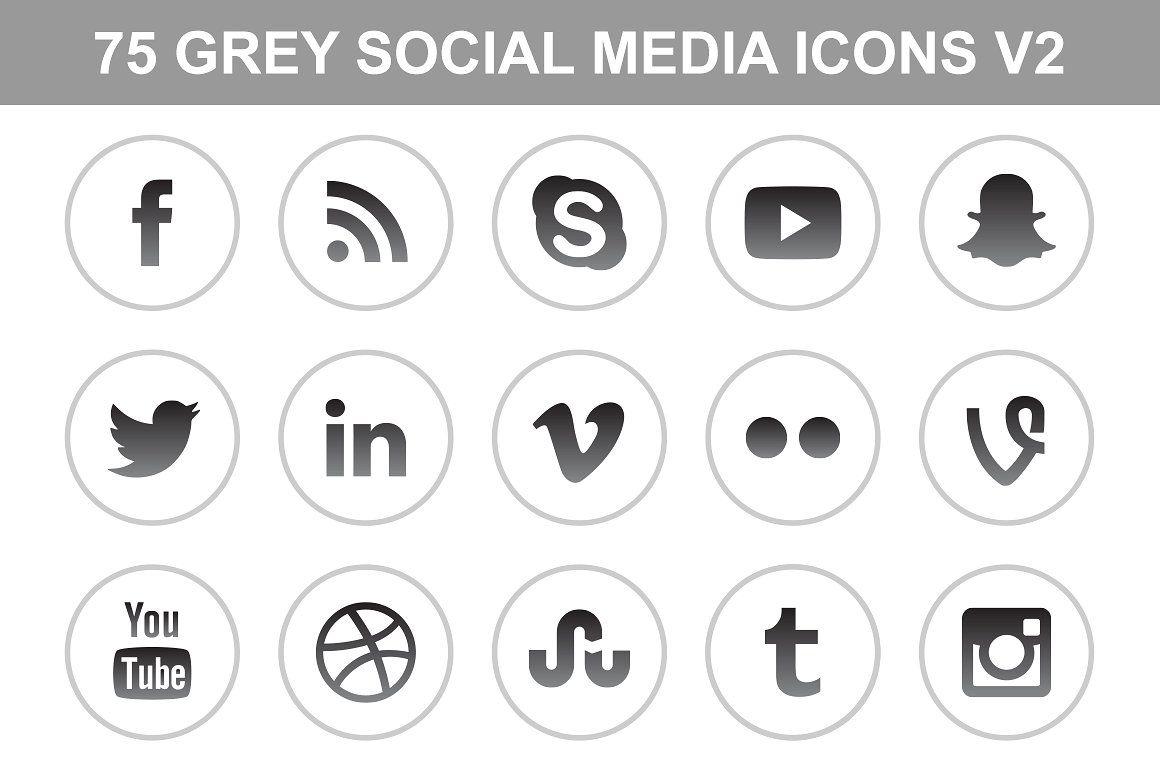 Gray Social Media Icons V2 Social Media Icons Media Icon Icon