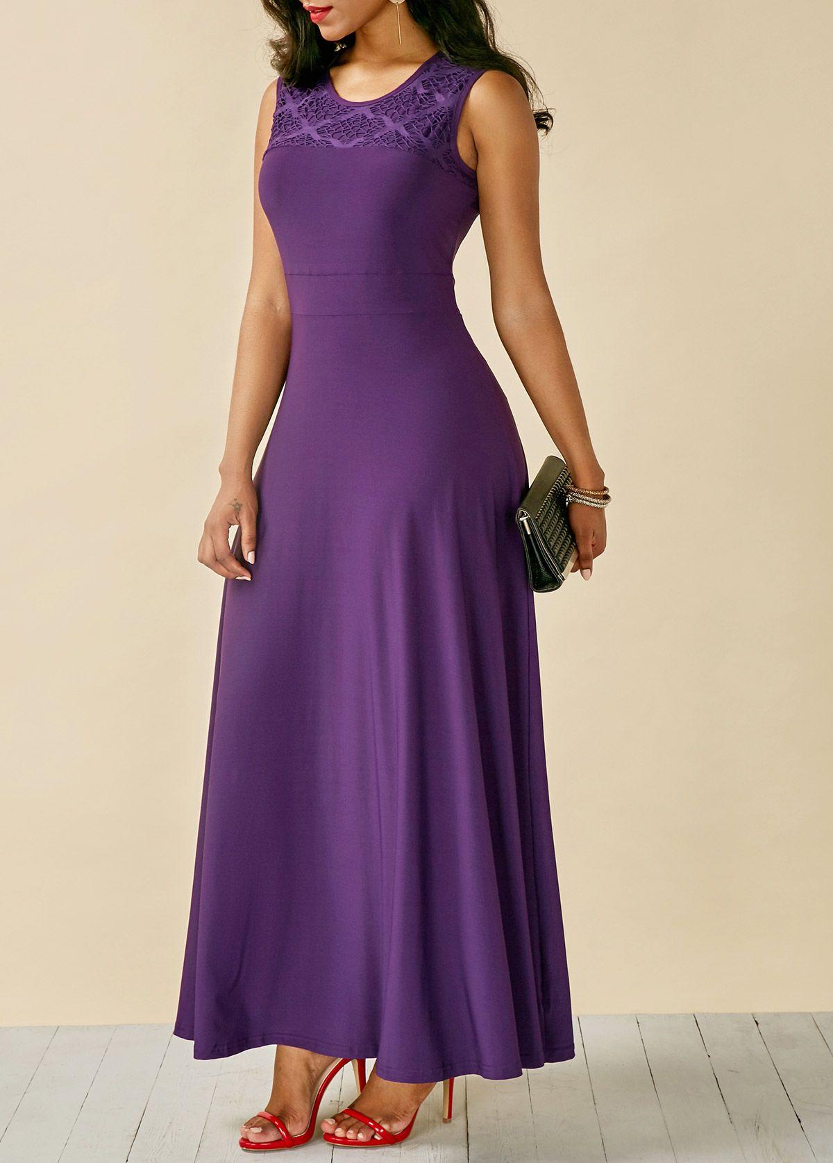 Lace panel round neck sleeveless purple maxi dress on sale