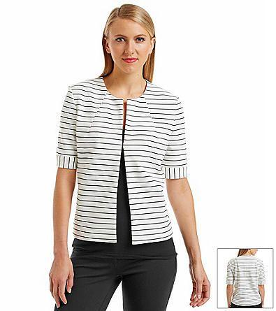 Nine West® Stripe Ponte Flyaway Jacket w/ matching pencil skirt