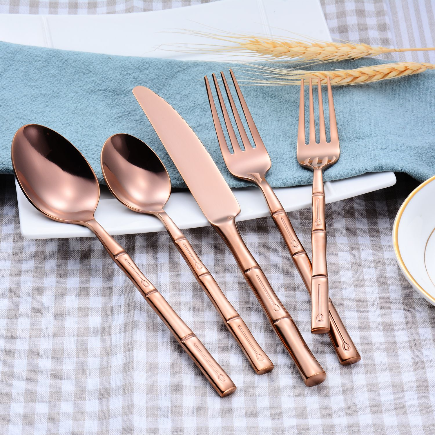 Rose Gold Bamboo Flatware Set Table Setting For Wedding Event