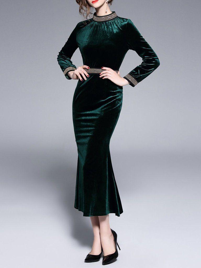 Dark Green Velvet Standing Collar Dress Green Velvet Dress High Neck Maxi Dress Womens Midi Dresses [ 1024 x 768 Pixel ]