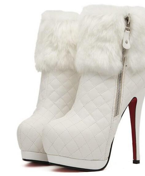 2cb57cf0b2b Wholesale Wedding Shoes - Buy White Fur Wedding Boots Sexy Bridal Boots  Wedding Shoes Fashion Women High Heels Shoes Ladies High Heel Shoes
