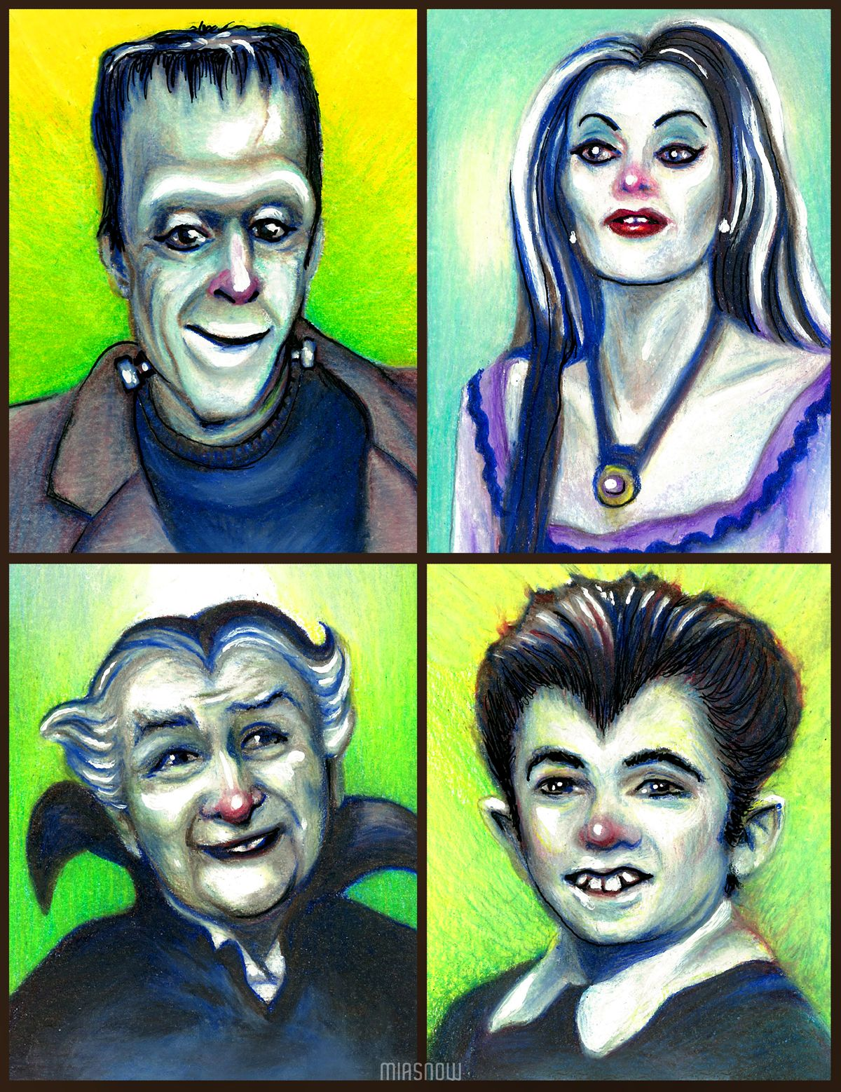 The Munsters color pencil drawing of Herman, Lily, Grandpa, & Eddie ...