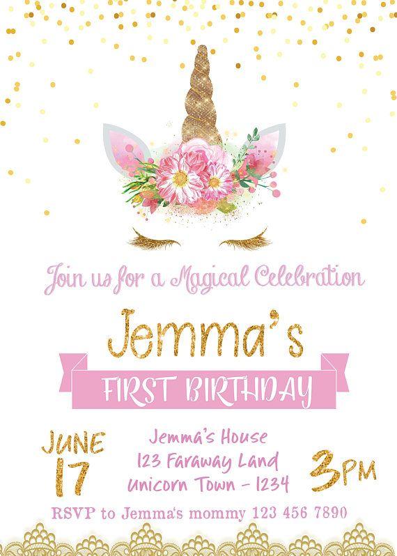 Unicornio cumpleaños invitación invitación de unicornio Corazon Pinterest Unicorns