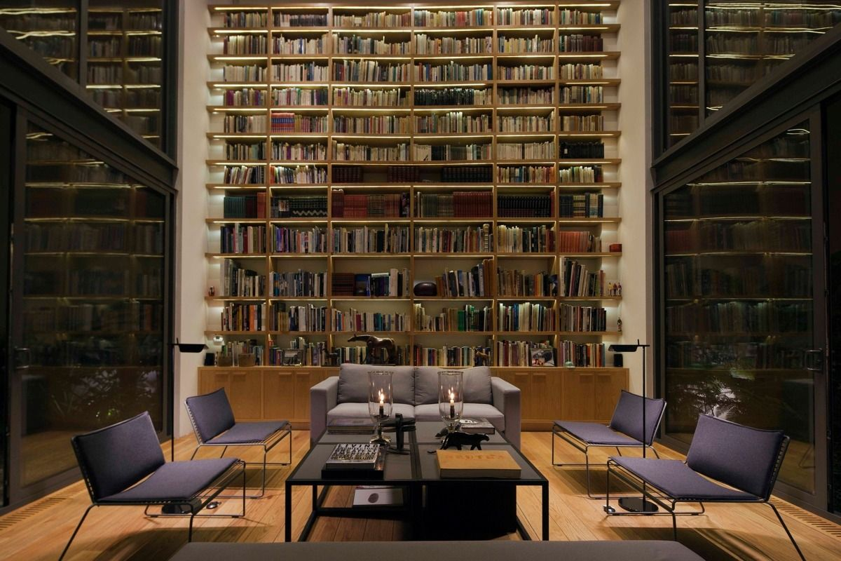 Home Designing — Via A House With 4 Courtyards Includes Floor Awesome Living Room Library Design Design Decoration
