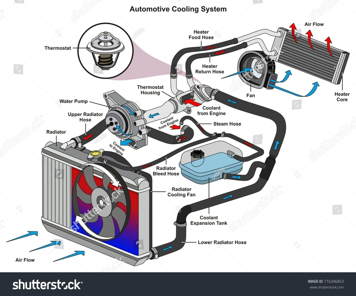 Automotive Cooling System Infographic Diagram Showing Process And