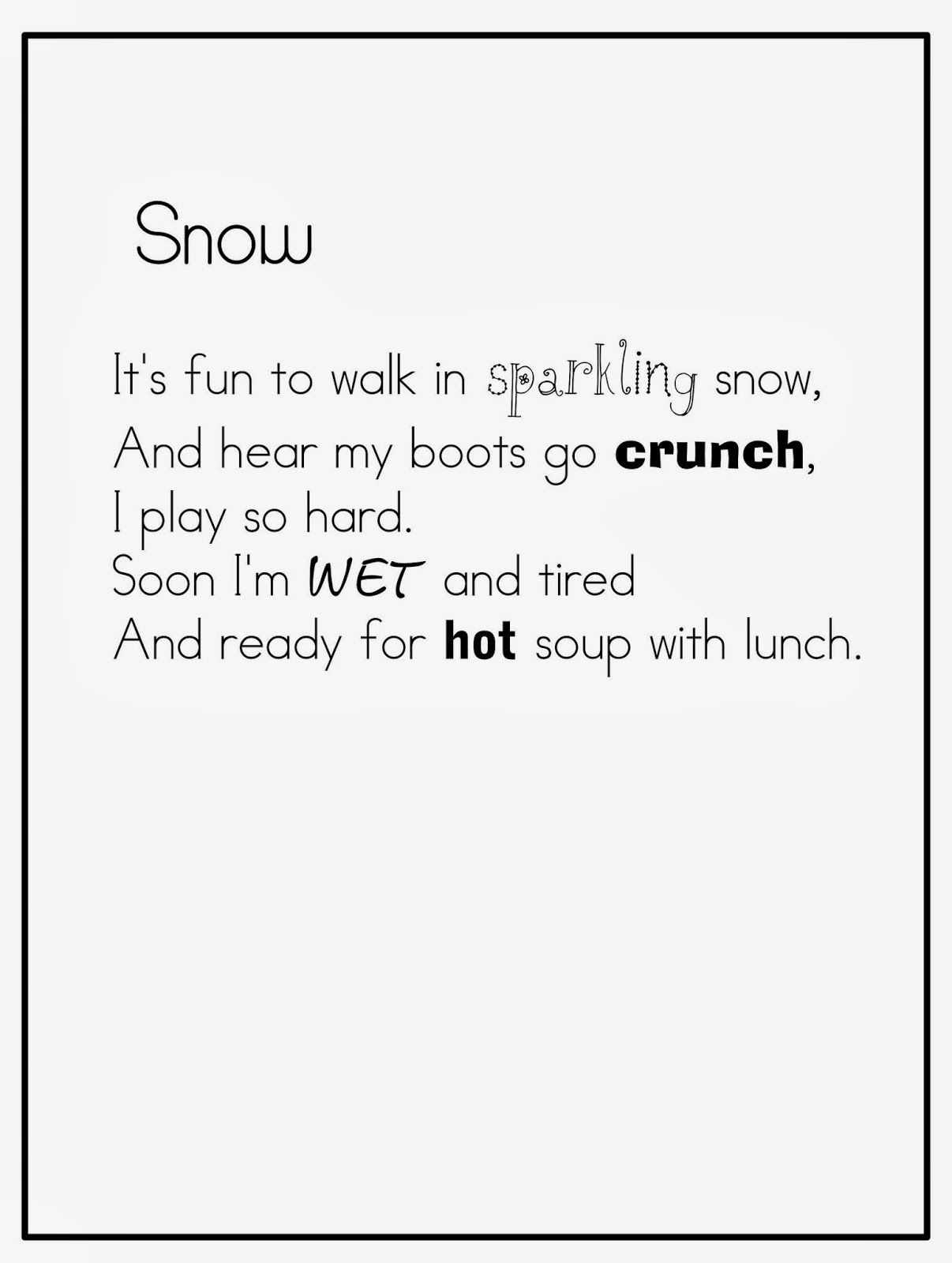 Winter Cute poems pictures images