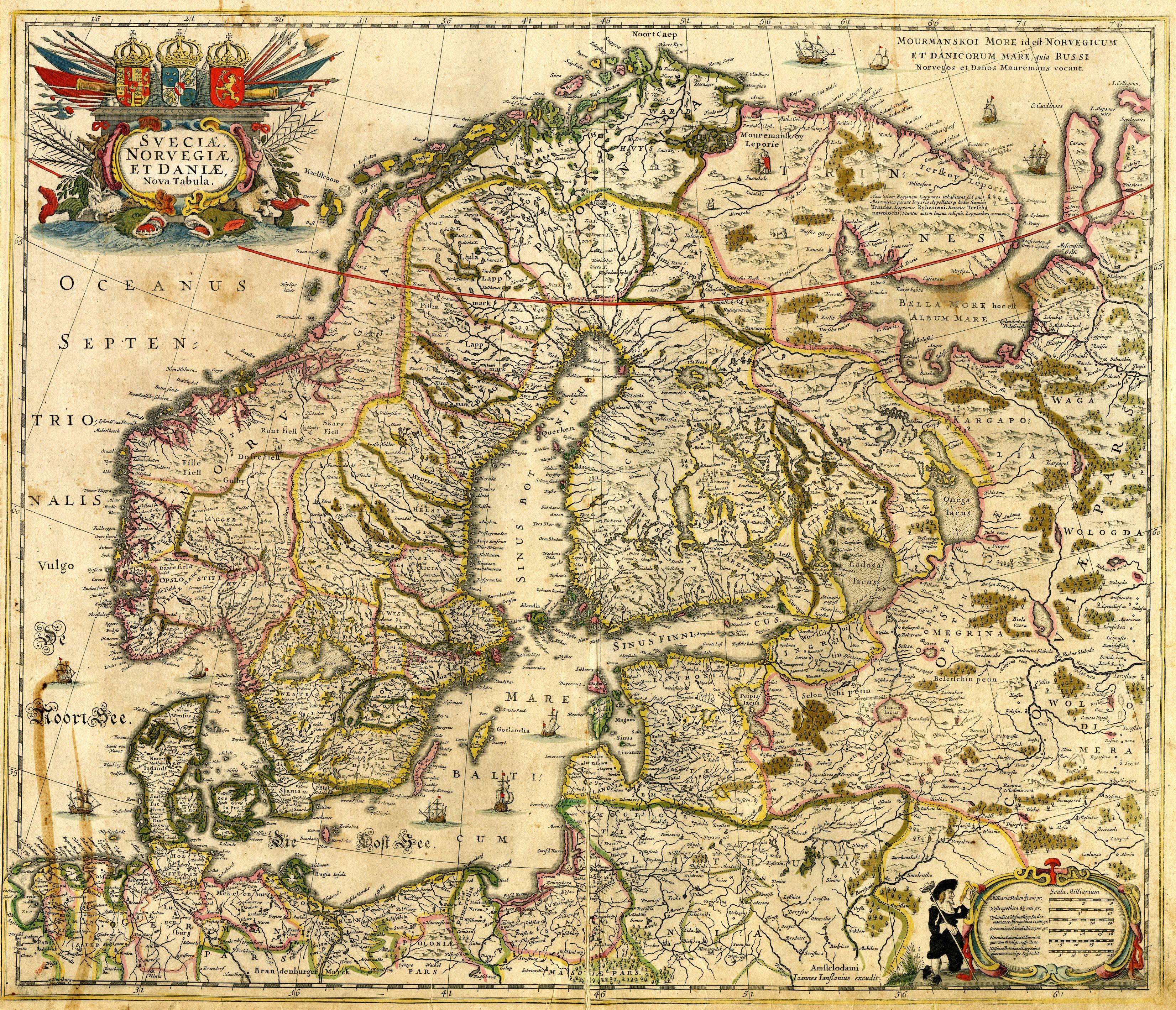 Dutch Map Of The Scandinavian Peninsula 17th Century Ancient Maps Map Antique Maps