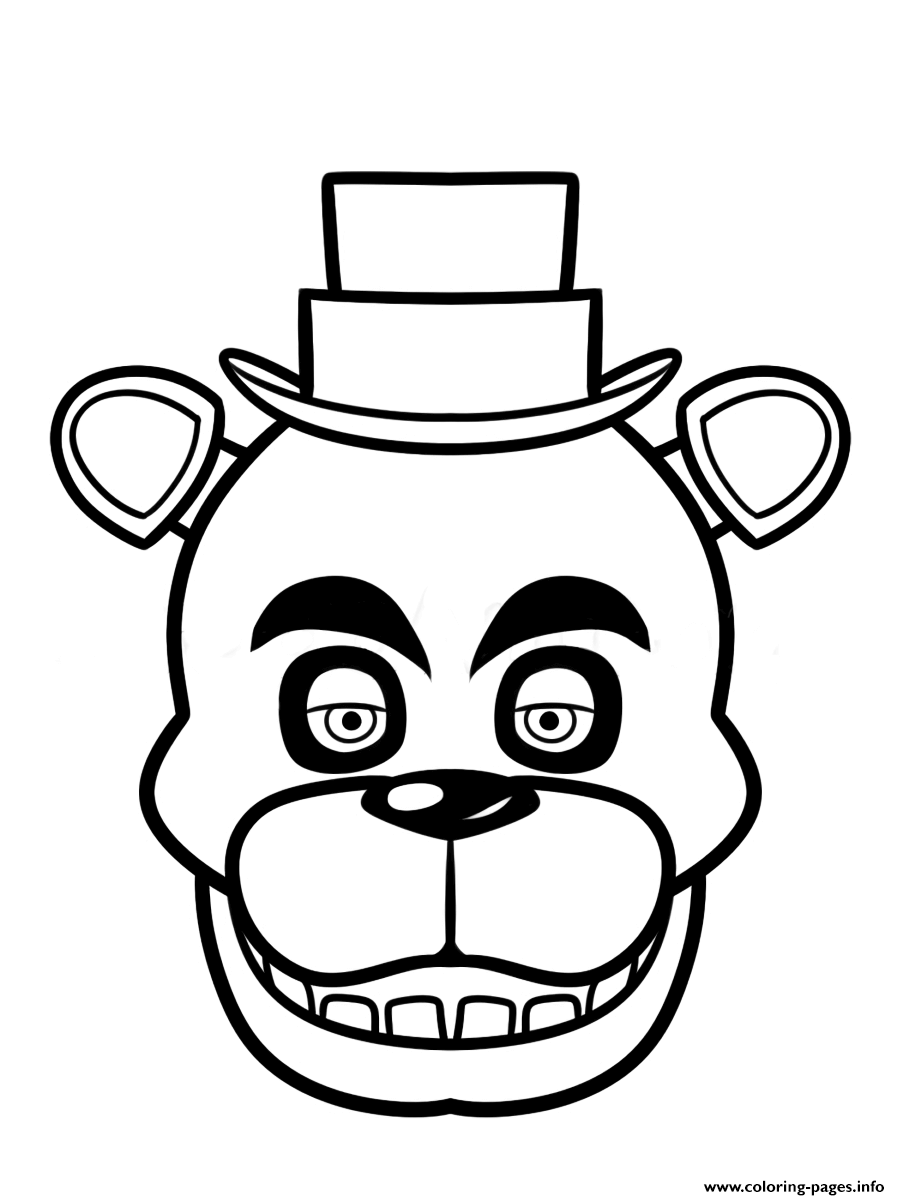 print fnaf freddy five nights at freddys face coloring pages