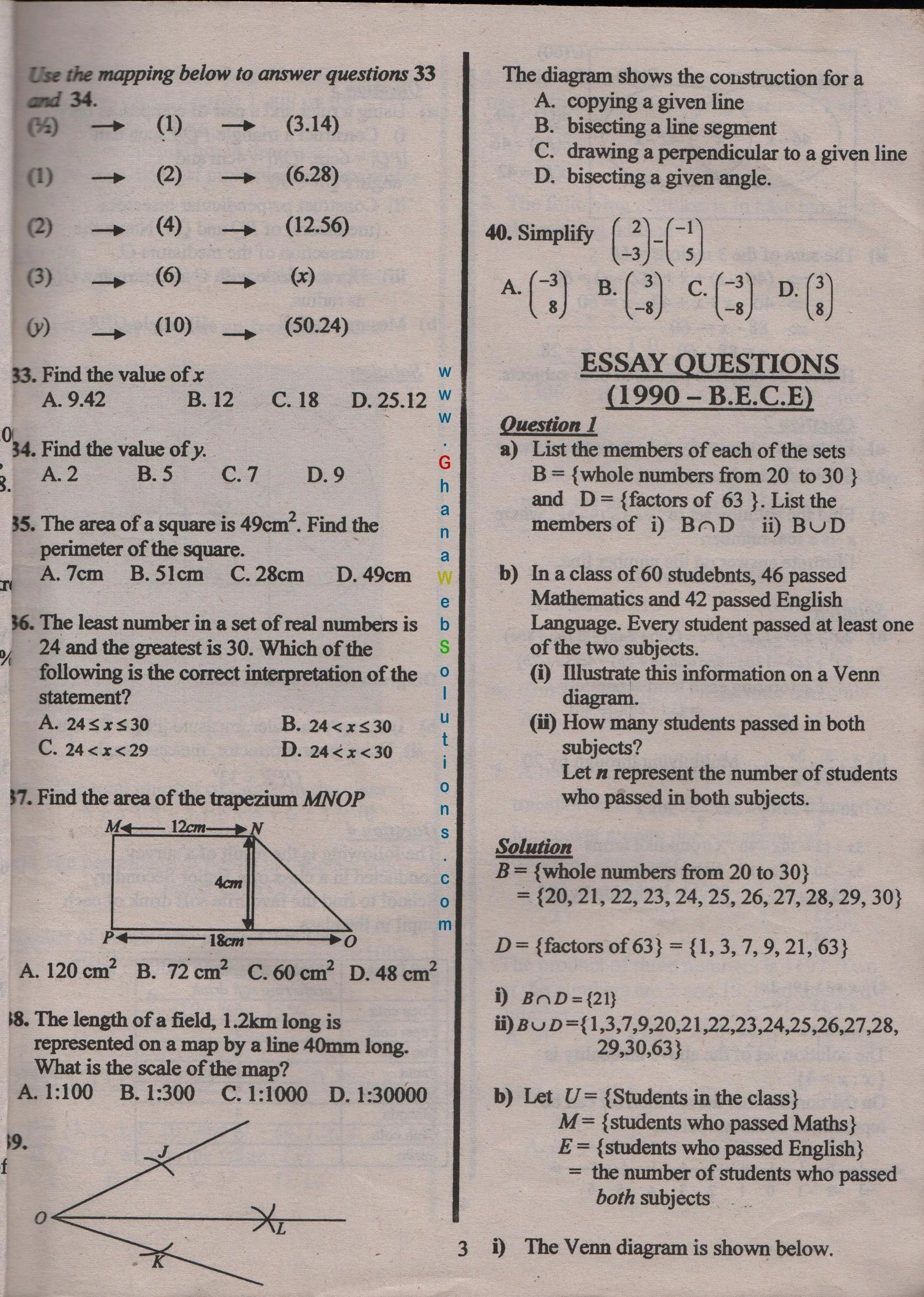 B E C Past Question 2018 Math Paper Thi Or That Questions International Relation Essay