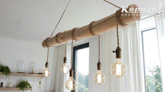 Design Keuken Hanglamp : Boomstam design lamp met vintage gloeilampen kapaza b s