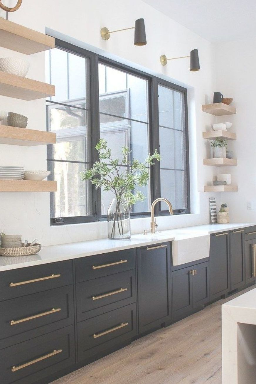 Love The Sophisticated Look Of Black Kitchen Cabinets With White Oak Floating Shelve Interior Design Kitchen Painted Kitchen Cabinets Colors Kitchen Renovation