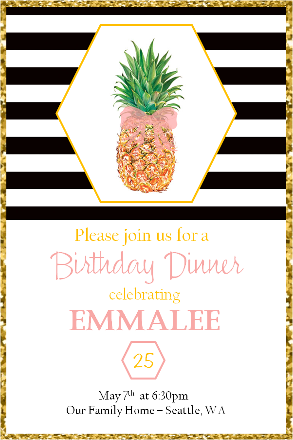 Pineapple Adult Dinner Party Birthday Ideas