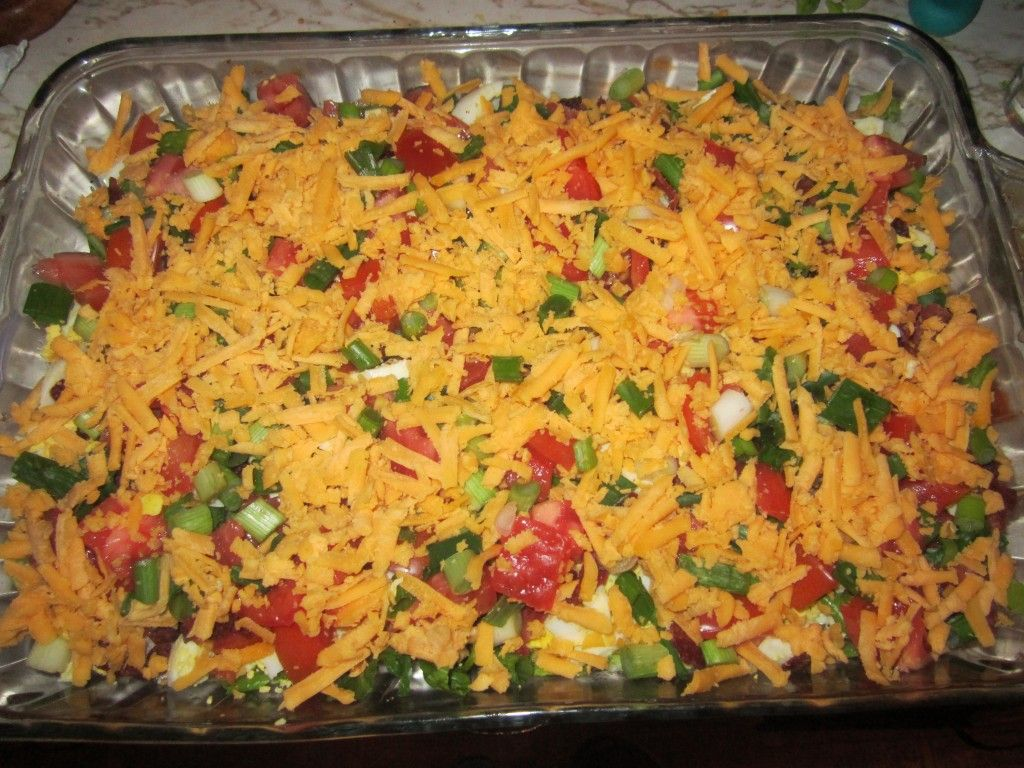 Try seven (or nine!) layer salad for a cool, summer meal-in-one recipe that you can enjoy all year long. This dish offers a healthy dose of  vegetables while packing some protein. Great dish for a potluck, too!