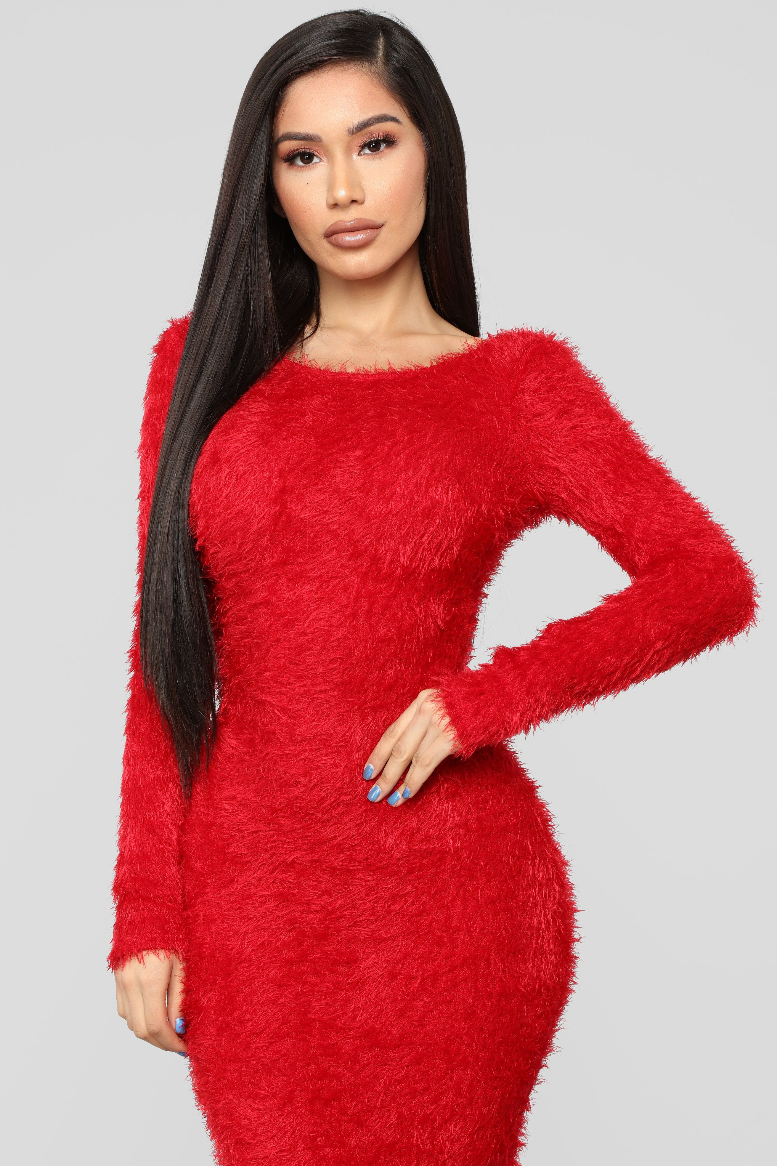 Everything's Fuzzy Maxi Dress Red Red dress outfit