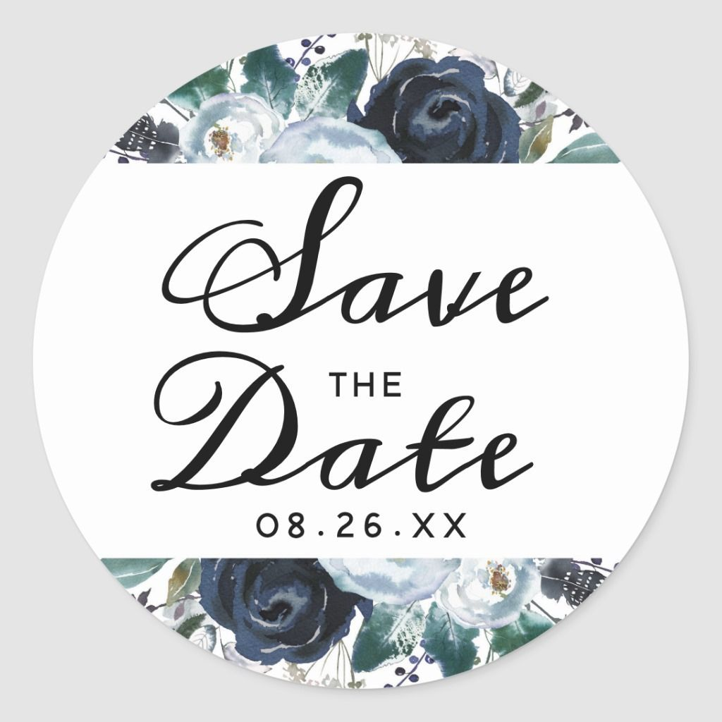 French Twilight Floral Boho Save the Date Wedding Classic Round Sticker