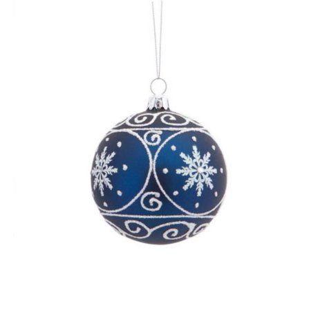 "3.5"" Matte Navy Blue Christmas Glass Ball Ornament with White Glitter Designs"