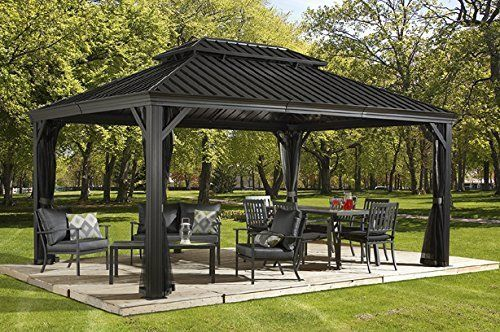 12x16 Steel Hardtop Gazebo Galvanized Metal Roof Mosquito Netting Aluminum Frame Hardtop Gazebo Patio Gazebo Pergola Patio