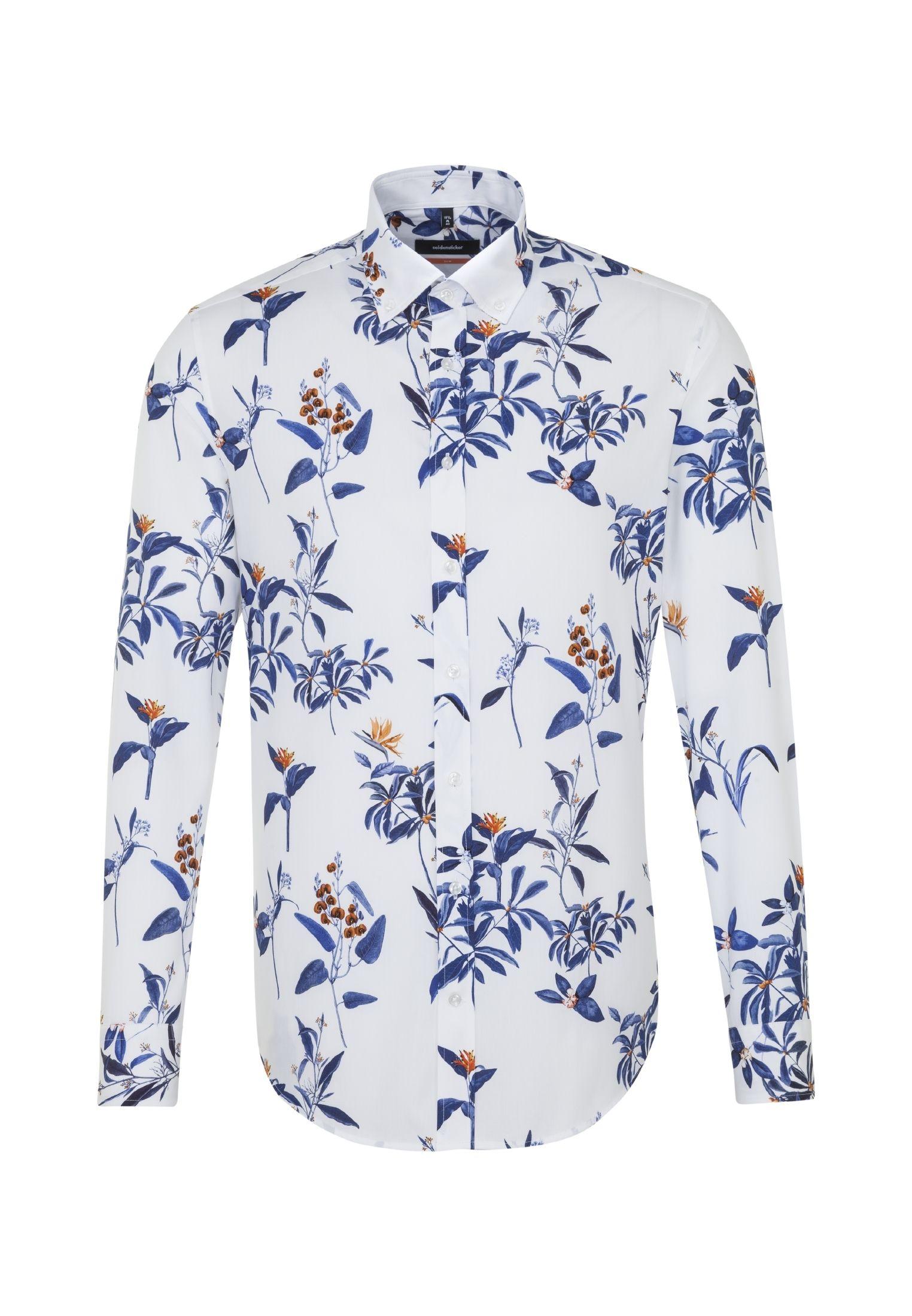 Seidensticker Schwarze Rose Original Hemd Slim Fit Hellblau Twill Langarm