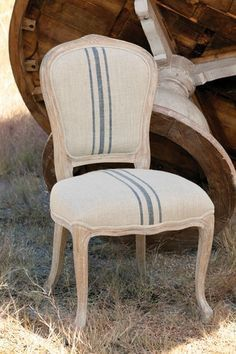 French Striped Ln Chair, custom wood finish, custom fabric finish, transitional style, restoration style