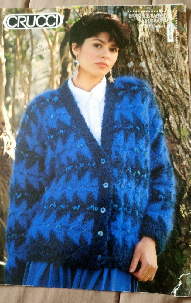 Women's Blue Fair Isle Mohair Cardigan knitting pattern worsted ...