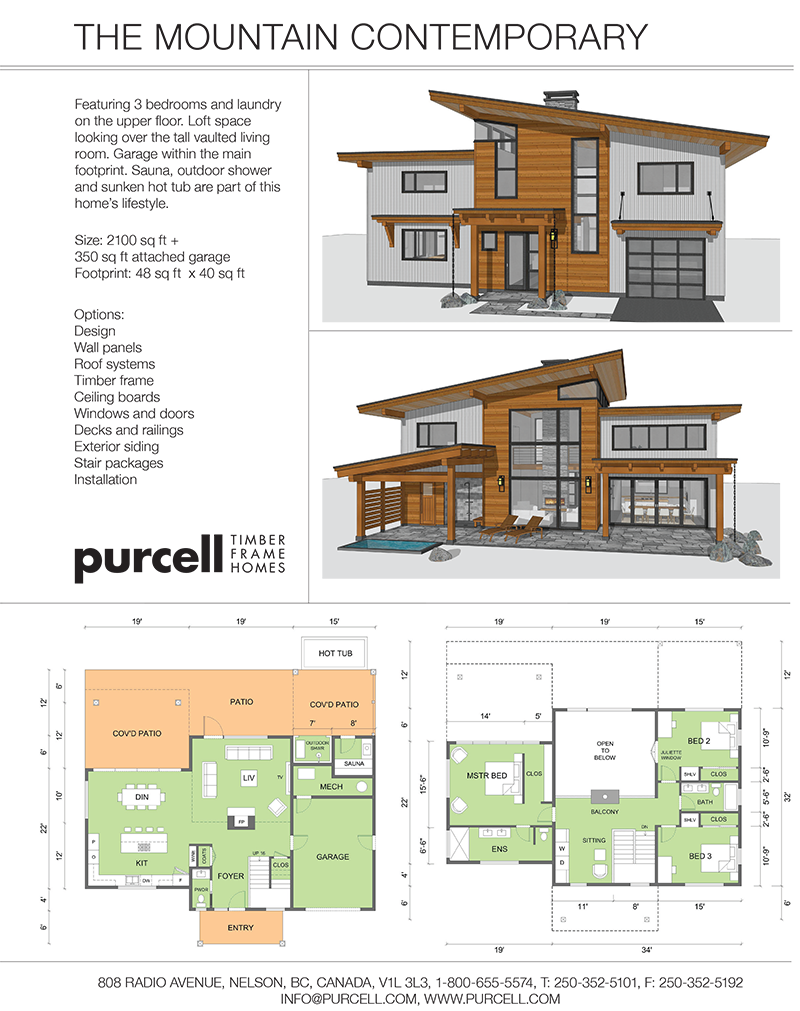 Purcell Timber Frames The Precrafted Home Company The Mountain Contemporary Contemporary House Plans Home Building Design Cottage Style House Plans