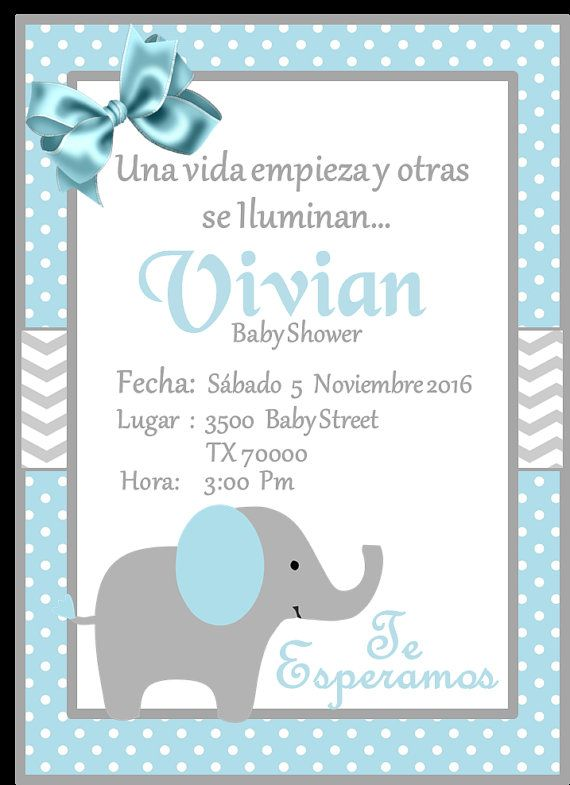 New Blue Elephant Baby Shower Invitation Invitacion