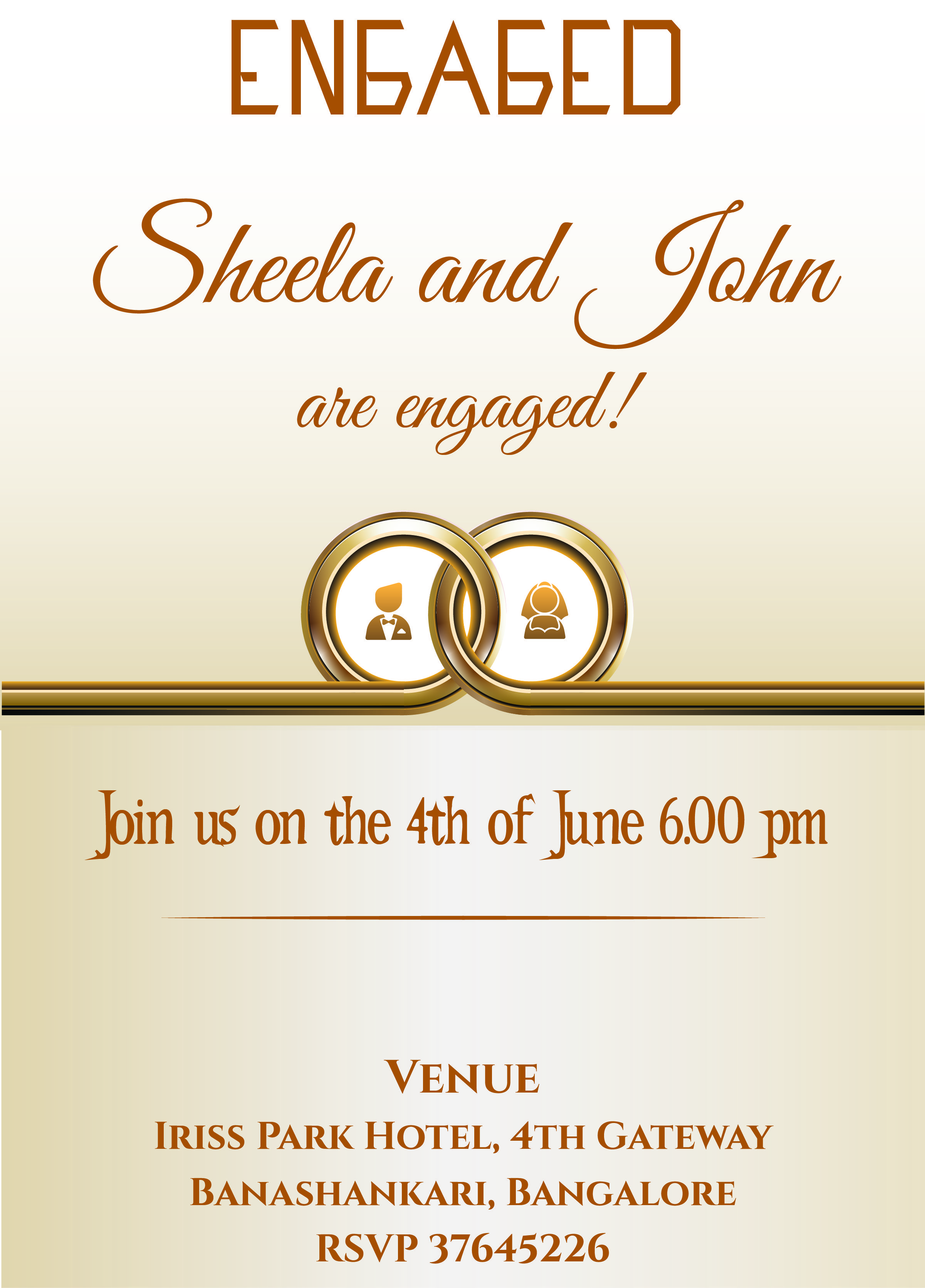 Free ring themed engagement invitation card with wordings for Online engagement party invitations