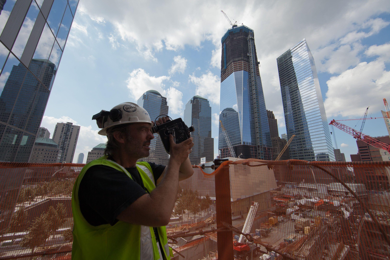 Capturing it all of 35 mm film! Photo copyright © Allan Tannenbaum #worldtradecenter #newyork #rebuilding #rebuildingmovie #tradecenter