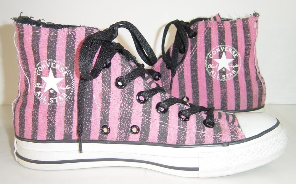 b46e931ff3255e Converse Chuck Taylor All Star High Top Pink Black Striped Shoes Mens 6  Womens 8 in Athletic