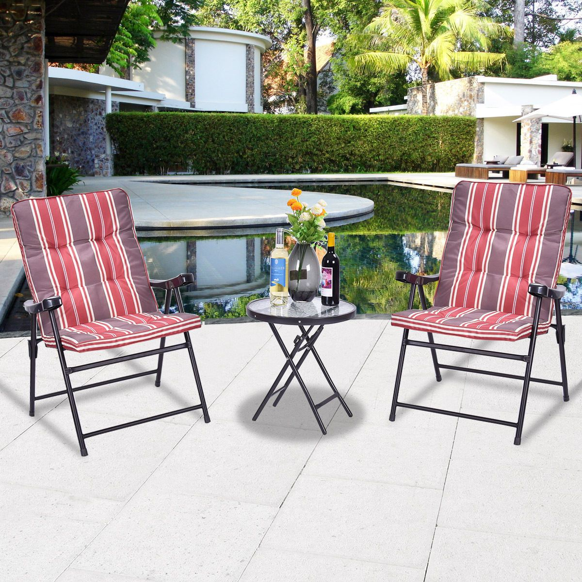 Patio pcs outdoor folding chairs table set furniture garden with