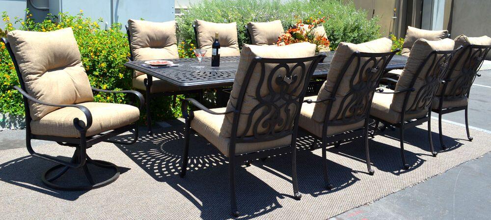 11 Piece Aluminum Outdoor Dining Set Patio Chairs Table Santa Anita Bronze Santa In 2021 Cast Aluminum Patio Furniture Aluminum Patio Furniture Modern Dining Room Set 11 piece patio dining set