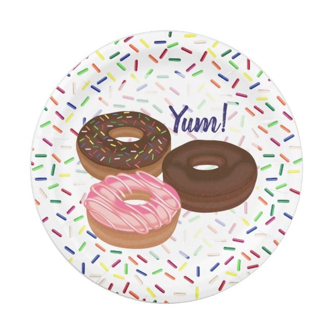 Donuts with Sprinkles Party Paper Plate    Donuts with Sprinkles Party Paper Plate