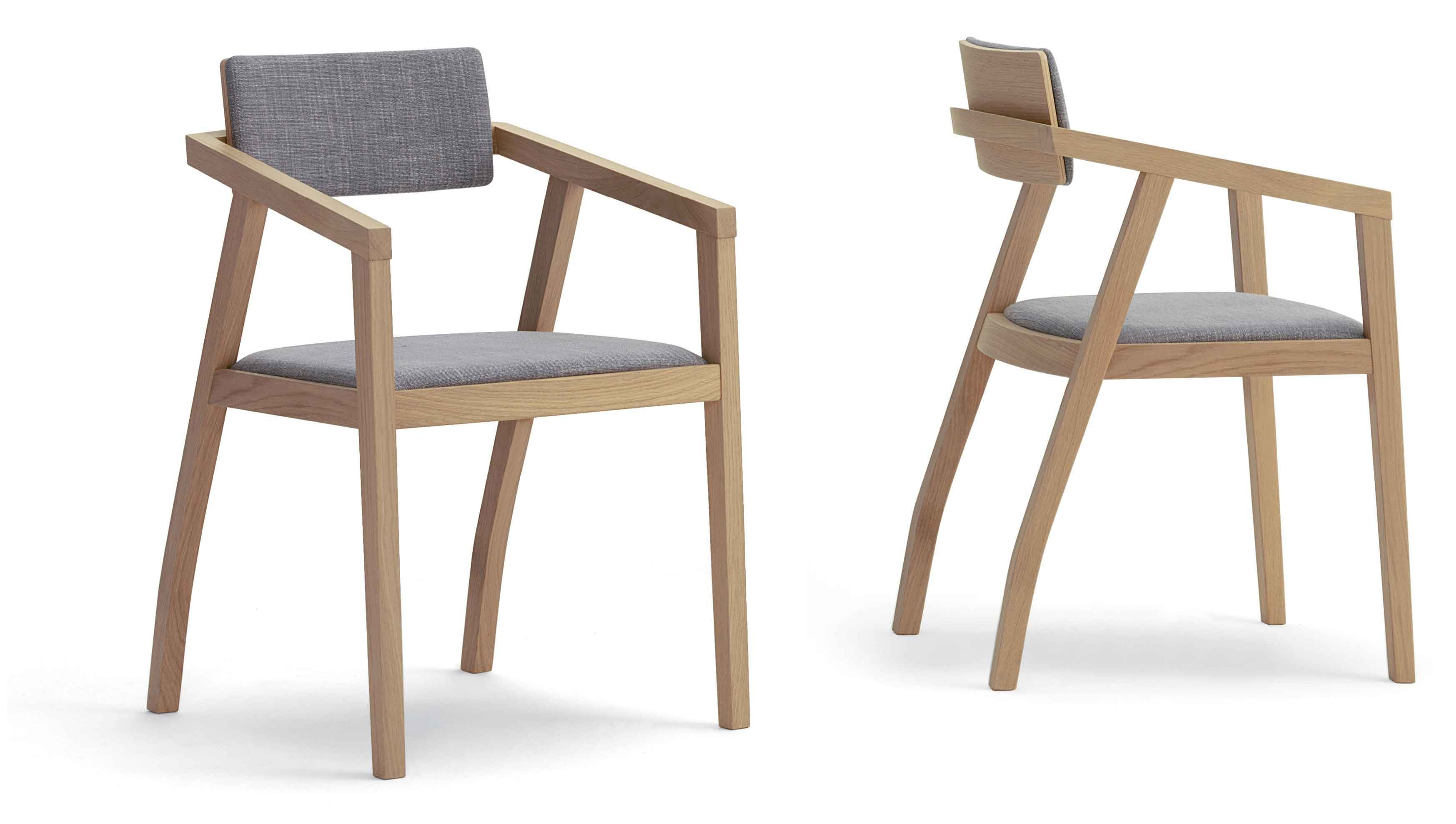 Aki 2.0 Upholstered arm chair with wood frame in oak or