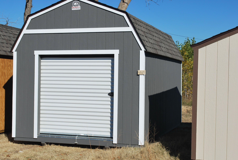 10 X 16 Lofted Classic W 6x6 Garage Door Painted Dark Gray White Portable Storage Buildings Garage Door Paint Outdoor Buildings