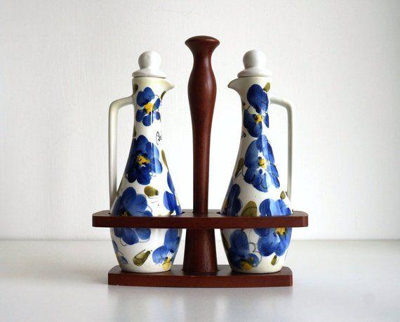 Vintage italian oil and vinegar set cruet stand midcentury