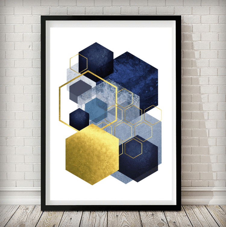 Geometric Hexagon Navy Gold Grey Abstract Art Print Rock Salt Prints Ltd Grey Abstract Art Abstract Pictures Abstract