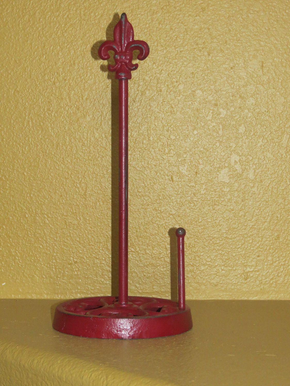 Cast Iron Paper Towel Holder / Fleur de lis Style / Colonial Red or ...