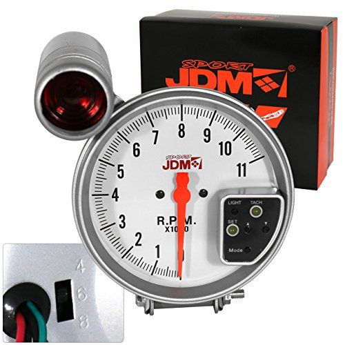 Universal 5 White Face Jdm Tachometer Rpm Gauge With 7 Color