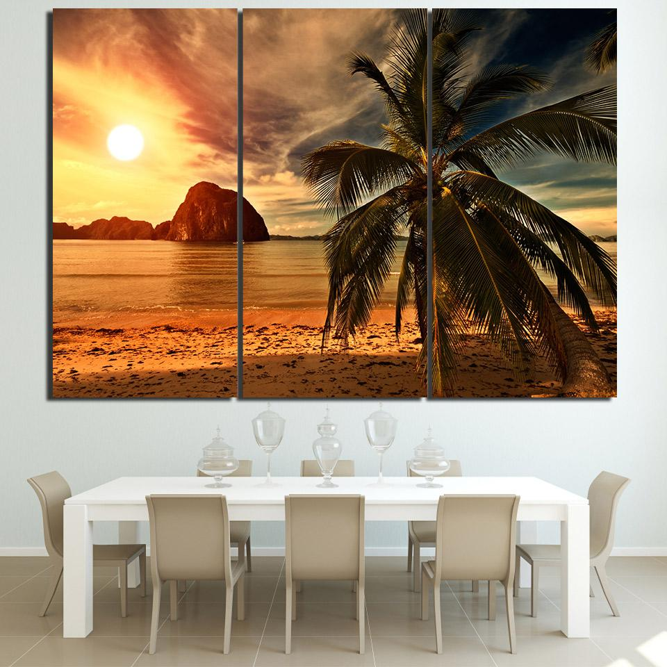Hd Printed 3 Piece Sunset Beach Coconut Trees Modular Wall Paintings Canvas Home Decor Posters And Prin Tree Painting Canvas Canvas Wall Art Set Frames On Wall