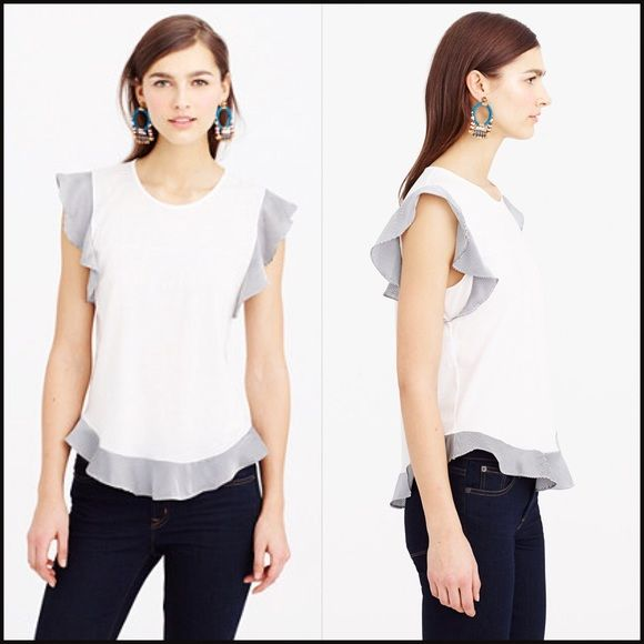 J Crew Flounce tank white with stripped Ruffles This adorable tank has never been worn.  The tags were removed and it was tried on but I ended up not wearing. J. Crew Tops Tank Tops